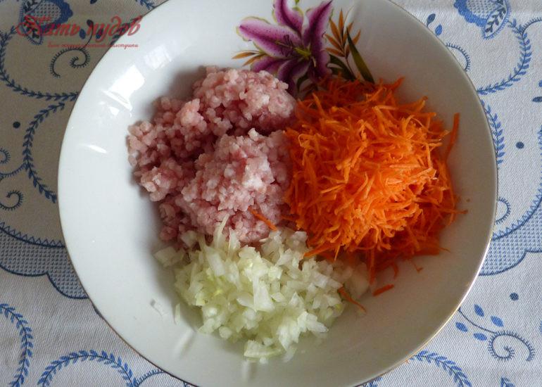 фарш, лук, морковь
